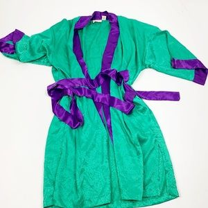 Victoria's Secret Satin Green Embossed House Robe